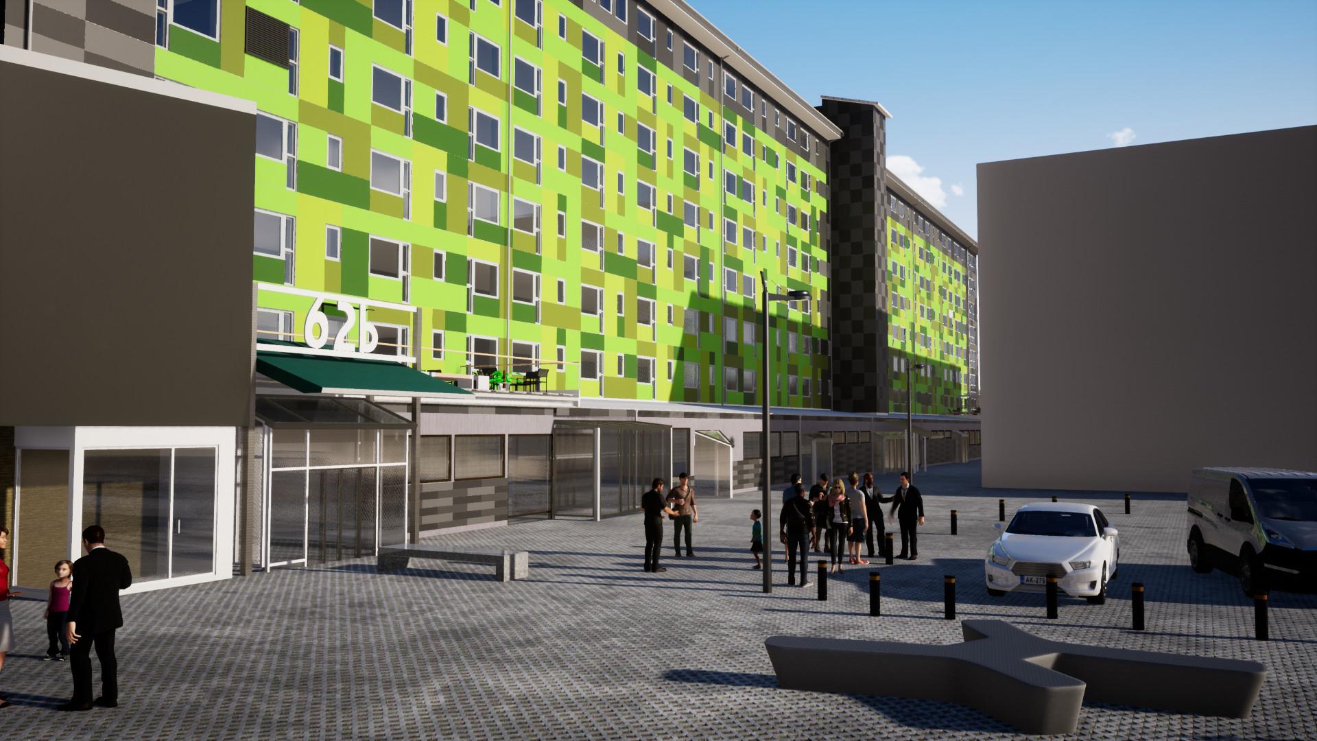 Fasadrenovering grön